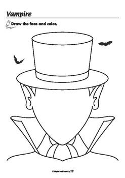 Vampire Halloween Coloring Worksheet by Maple Leaf