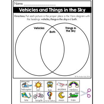 Vehicles and Things in the Sky Venn Diagram Worksheet by