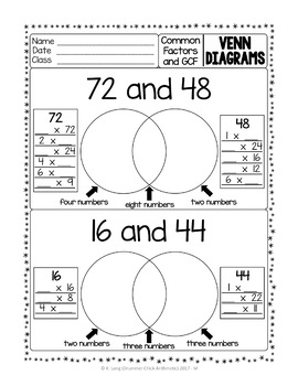 Venn Diagrams with Common Factors and GCF by Drummer Chick