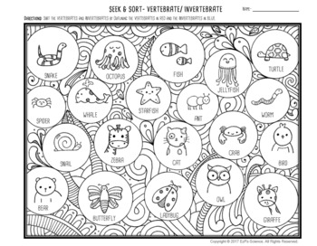 Vertebrate and Invertebrate Seek and Sort Science Doodle