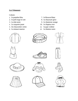 Vêtements (Clothing in French) Colorie Worksheet 1 by