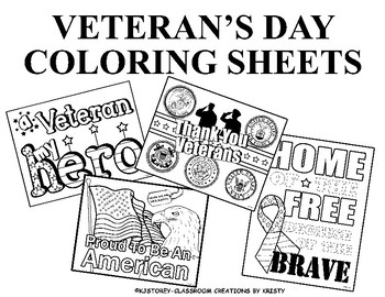 Veteran's Day Coloring Pages by Classroom Creations By