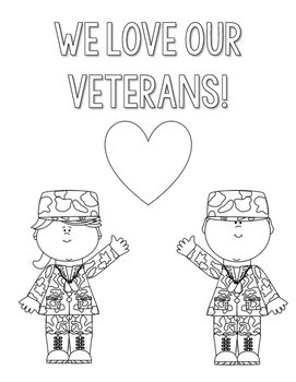 Veterans Day Coloring and Thank You Letters by Countless