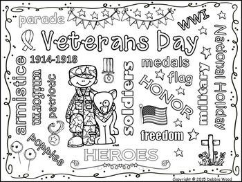 Veterans Day FREEBIE: Vocabulary Word Art Fun by Debbie