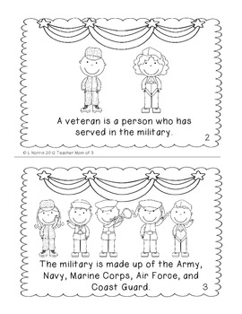Veterans Day Printable Book for Guided Reading Shared