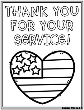 Veterans Day Thank You for Your Service Soldiers Coloring