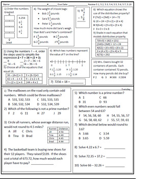 Virginia 5th Grade Math Homework or Classwork Review