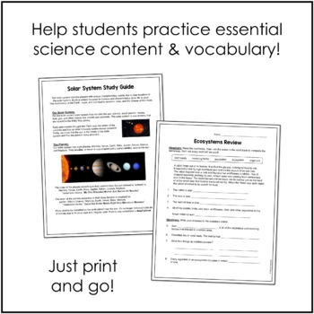 Virginia Fourth Grade Science Study Guides and Review
