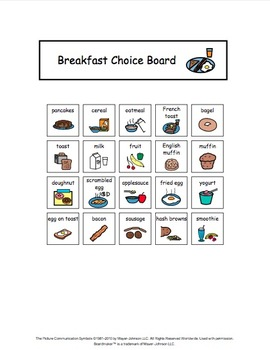 Visual Choice Board {Breakfast & Snack} by The Autism