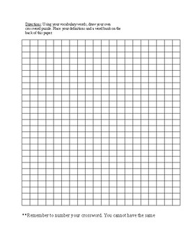 Vocabulary-Blank Crossword Puzzle Template by Chastity