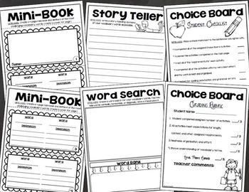 Vocabulary Word Choice Board Tic Tac Toe Activities For