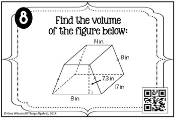 Volume Task Cards (Prisms, Cylinders, Pyramids, and Cones