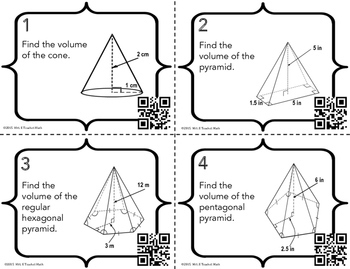 Volume of Cones and Pyramids Task Cards by Mrs E Teaches