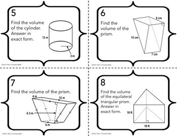 Volume of Cylinders and Prisms Task Cards by Mrs E Teaches