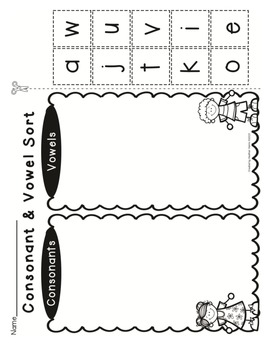 Vowel & Consonant Sorts {Cut and Paste Fun} by Heather