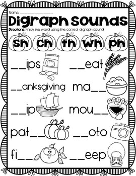 (((2 PAGES))) Vowel & Digraph Sounds Thanksgiving