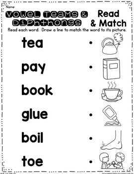 Vowel Digraph and Diphthongs Read and Clip Cards by Second