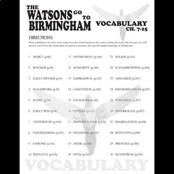 THE WATSONS GO TO BIRMINGHAM Vocabulary List and Quiz