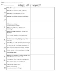 WDEP Child Friendly Worksheet by Katie White
