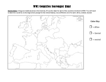 WWI Countries Scavenger Hunt: Textbook or Webquest