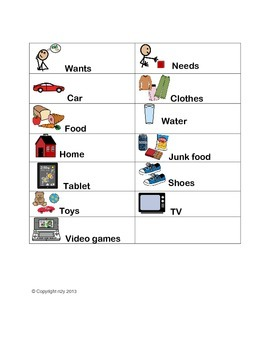 Wants and Needs Sort for special education students by