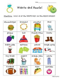 Wants and Needs Sorting Worksheet by 4 Little Baers | TpT