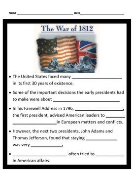 War of 1812 PowerPoint with Interactive Notes 4th Grade