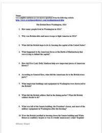 War of 1812 Primary Source Worksheet: British Burn ...