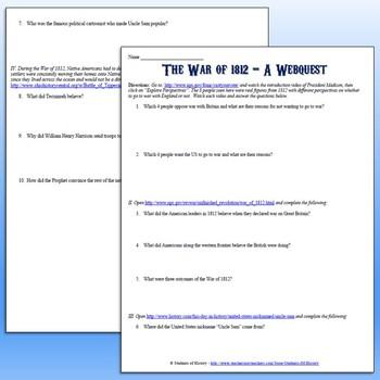 War Of 1812 Worksheets