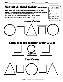 Warm & Cool Color Worksheet by Create Art with ME