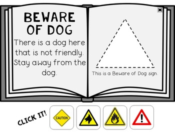 Warning & Safety Signs Click It Book {No Print} by Miss