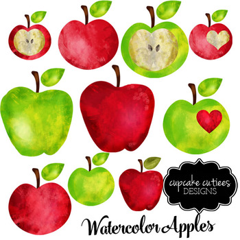 watercolor apple teacher digital