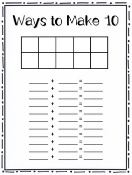 Ways to Make 5 and Ways to Make 10, Center and Worksheets
