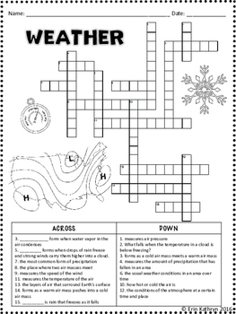 Weather Crossword Puzzle Activity by Jersey Girl Gone