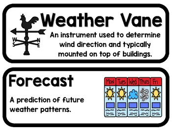 Weather Instrument Bulletin Board Vocabulary & Student