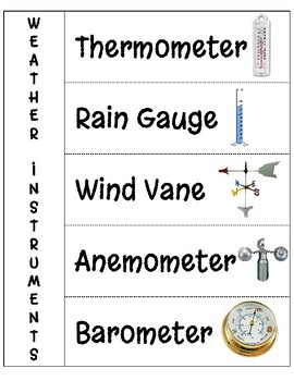 Weather Instruments- Interactive Notebook Page by Nicole
