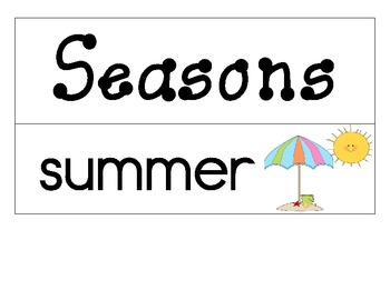 Weather and Seasons Word Wall and/or Flash Cards by