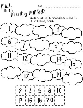 Weather themed math-Fill in the Missing Numbers 1-20 by