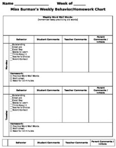 Weekly behavior homework sheet using  clip chart editable also tpt rh teacherspayteachers