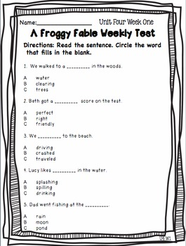 Weekly Skills, Vocabulary, and Comprehension Tests