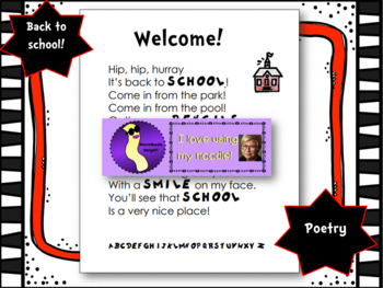 Welcome Back to School Poem or Letter, Poetry, Literacy by