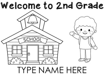 Welcome to 2nd Grade name sheets l Back to school by 1st
