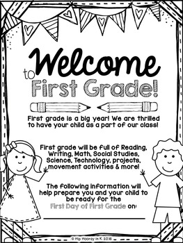 Welcome to FIRST GRADE Editable Information Packet for