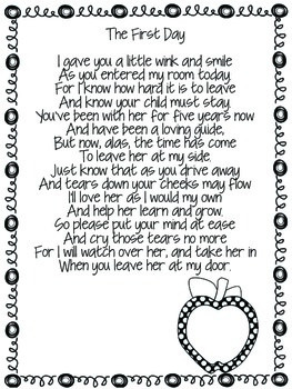 Welcome to Kindergarten (Poem for Parents) by The