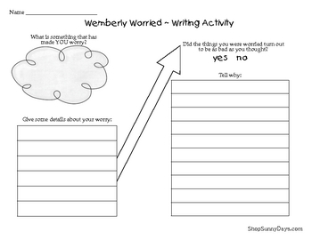 Wemberly Worried Literacy Center Activities By Sunnydays