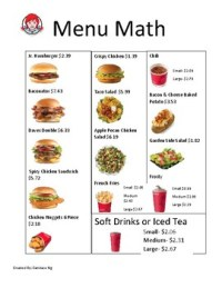 Wendy's Menu Math by Candace Ng | Teachers Pay Teachers