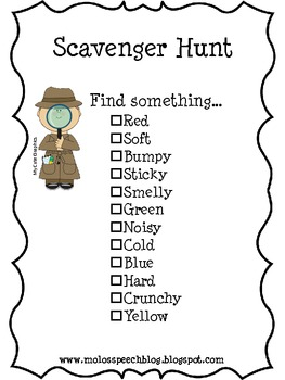 We're Going on a Scavenger Hunt by Mo Lo's Speech Therapy