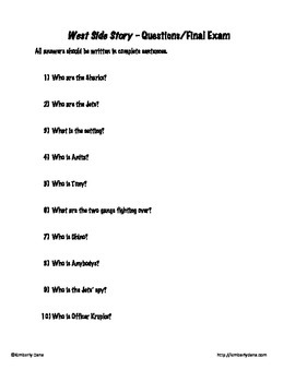 West Side Story Study Guide/Final Exam Test by Kimberly