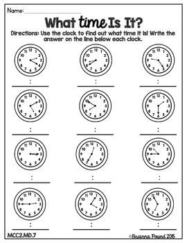 Telling Time to Five Minutes {2nd Grade} by A Bubbly
