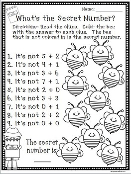 What's the Secret Number? Level 1 No Prep by The Honey Pot
